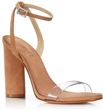 1d9eeb535fe Schutz Women s Geisy Suede Illusion Ankle Strap Block Heel Sandals