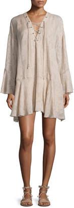 IRO Ralene Printed Chiffon Shift Dress, Nude