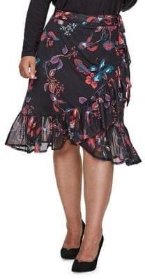 Junarose Plus #418 Tonic Floral Knee-Length Skirt