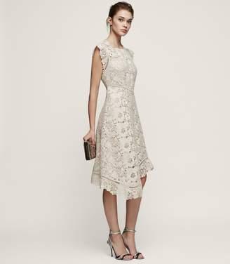Reiss Lucy - Lace Midi Dress in Warm Grey