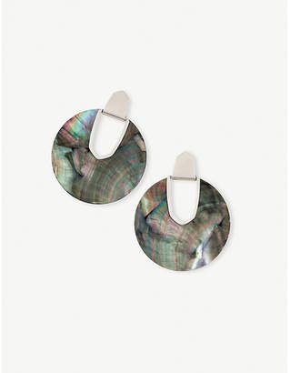 Kendra Scott Diane rhodium-plated and black mother-of-pearl disc earrings
