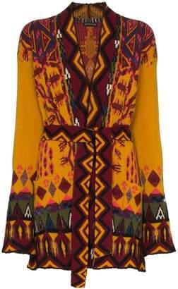 Etro navajo intarsia belted cardigan