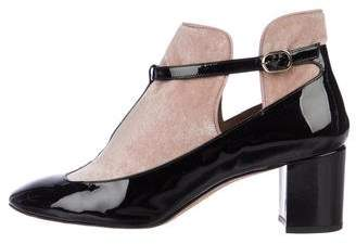 Valentino Patent Leather Square-Toe Booties