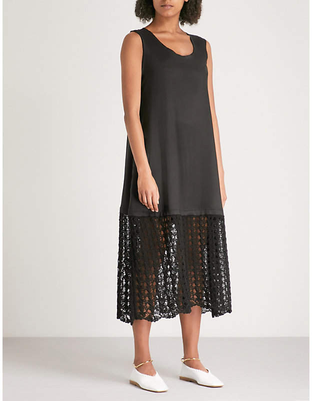 Sor cotton and satin midi dress