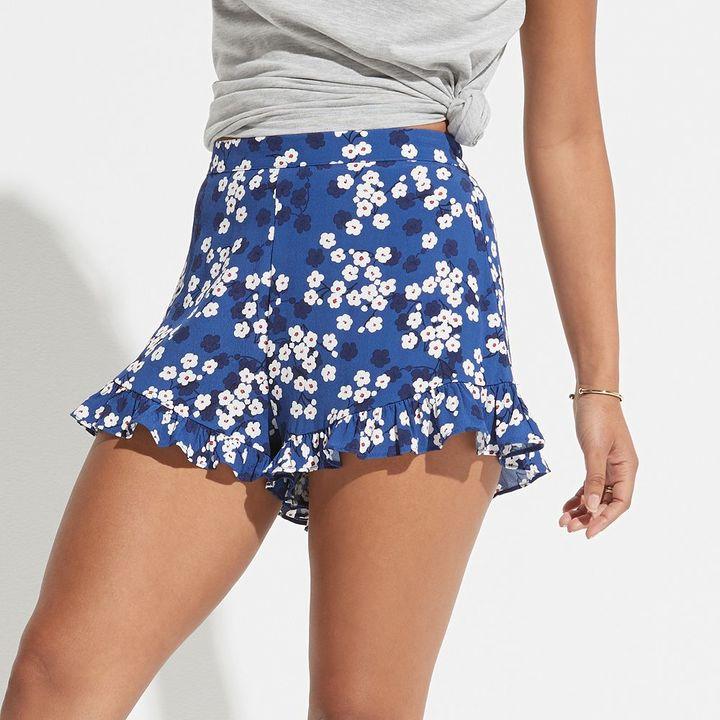 K/lab Floral Ruffle-Hem Shortie Shorts
