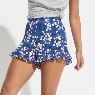 K/lab Floral Ruffle-Hem Shortie Shorts $48 thestylecure.com
