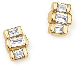 Rachel Zoe Zoë Chicco 14K Yellow Gold Baguette Diamond Stud Earrings