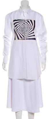 Dries Van Noten Long Sleeve Cotton Button-Up Dress