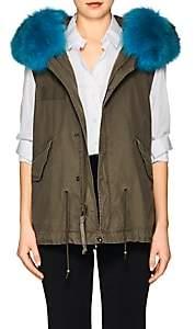 Mr & Mrs Italy Women's Fox-Fur-Trimmed Mini-Vest - Saline London Green