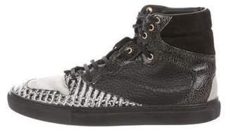 Balenciaga Python-Trimmed High-Top Sneakers