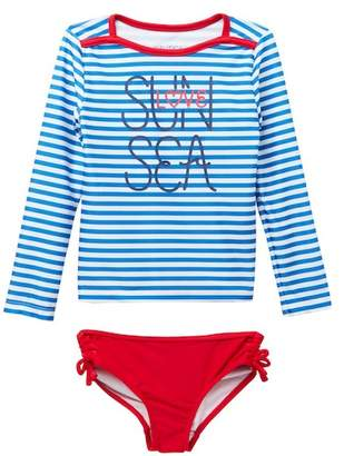 Nautica Striped Rashguard & Bottom Set (Toddler Girls)