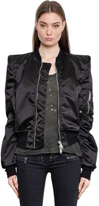 Unravel Padded Shoulder Nylon Bomber Jacket