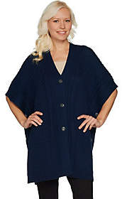 Martha Stewart Merino Wool Cable Knit ButtonFront Poncho