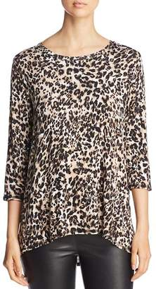 Bobeau B Collection by Three-Quarter Sleeve Leopard Print Top