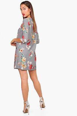 Mori Mini Check Floral 3/4 Sleeve Shift Dress