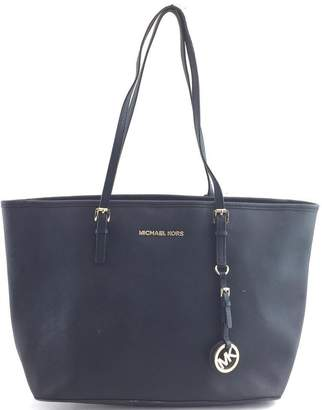 Michael Kors XL Jet Set Travel Top Zip Tote Large Black Canvas and Leather Shoulder Bag