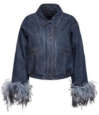 Prada Denim Jacket With Feathers