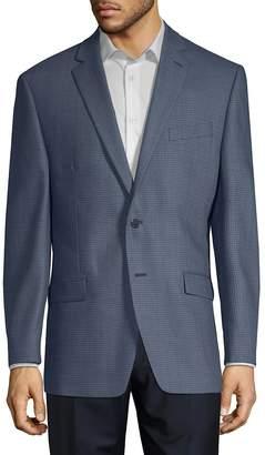 Calvin Klein Men's Mini Grid Slim-Fit Wool Jacket