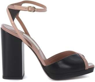 L'Autre Chose Black Leather And Peach Patent Leather Sandal