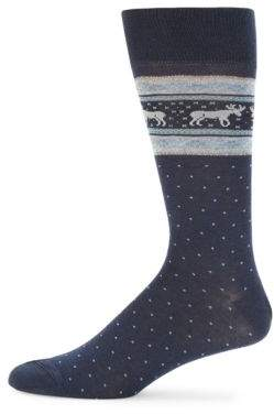 Dotted Moose Instarsia Crew Socks