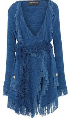 Balmain Fringe-Trimmed Crochet-Knit Cotton Cardigan