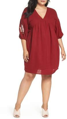 Caslon Embroidered Puff Sleeve Dress (Plus Size)