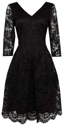 Wallis Black Crochet Lace Fit and Flare Dress