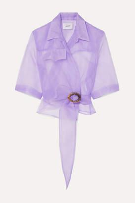 Nanushka Dalas Organza Wrap Shirt - Lilac