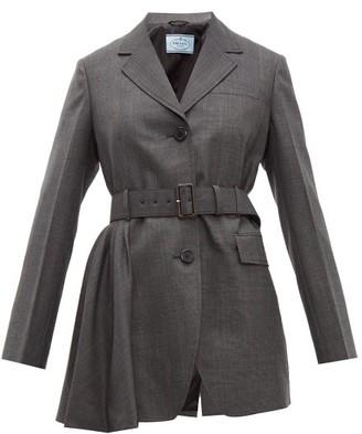 Prada Belted Prince Of Wales Check Wool Jacket - Womens - Grey Multi