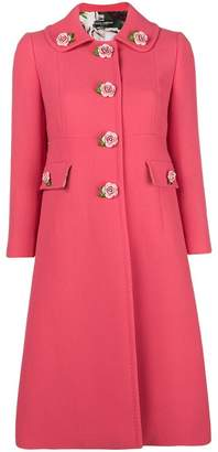 Dolce & Gabbana floral appliqué tailored coat