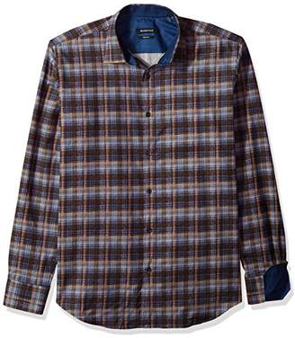 Bugatchi Men's Shaped Fit Long Sleeve Printed Plaid Cotton Shirt