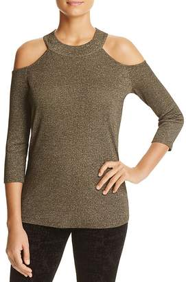 Design History Cold Shoulder Metallic Sweater $88 thestylecure.com