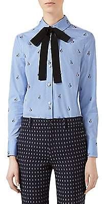 Gucci Women's Rabbit Fil Coupé Cotton Tie-Neck Shirt