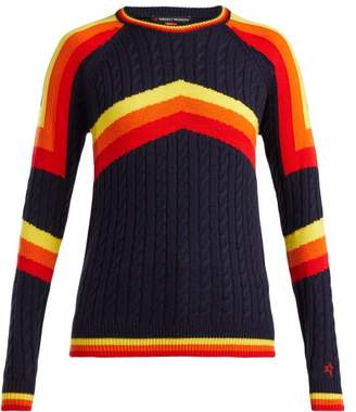 Perfect Moment - Tignes Cable Knit Wool Sweater - Womens - Navy Multi