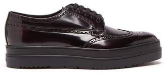 Prada Stacked Sole Leather Brogues - Mens - Burgundy