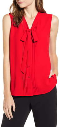 Anne Klein Tie Neck Button Front Blouse