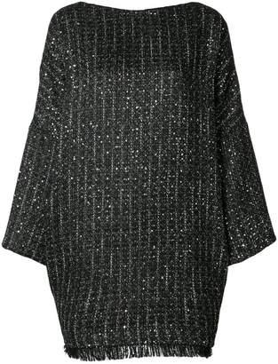 Talbot Runhof boxy fit tweed dress