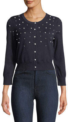 Karl Lagerfeld Paris Pearlescent Beaded Cropped Shrug Sweater