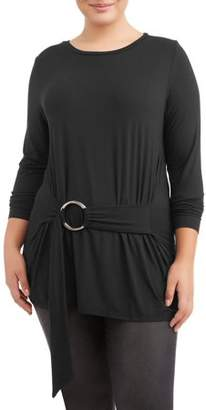 Eye Candy Women's Plus Size Long Sleeve Belted Tunic Top