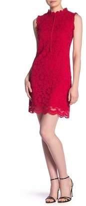 Nanette Lepore NANETTE Floral Lace Mock Neck Sheath Dress