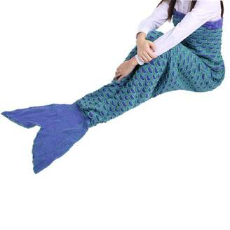 Begin 2 Colors Lovely Wool Materials Knitted Mermaid Tail Blanket Lazy Bag SY017