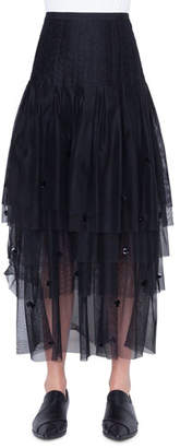 Akris Punto Tiered Sequined-Tulle Maxi Skirt