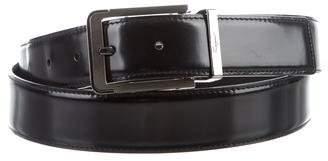 Salvatore Ferragamo Silver-Tone Buckle Leather Belt