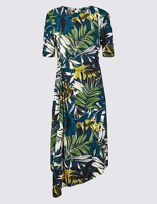 Marks and Spencer Printed Half Sleeve Asymmetric Midi Dress
