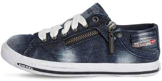 Diesel Faded Cotton Denim Sneakers