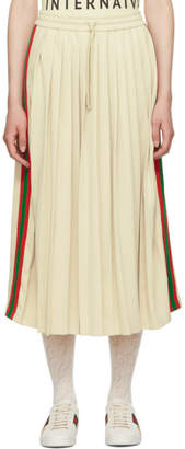 Gucci White Pleated Webbing Drawstring Skirt