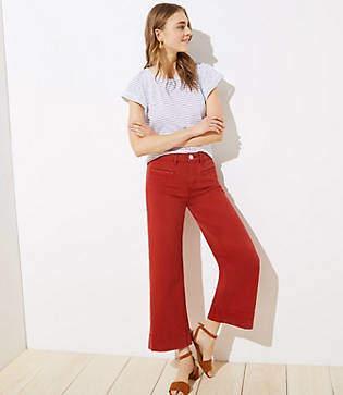 LOFT Wide Leg Crop Jeans in Red