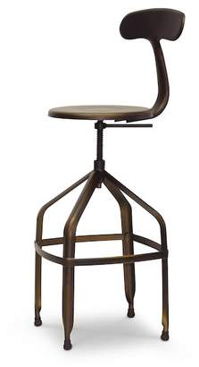 Wholesale Interiors Architect's Antiqued Copper Industrial Bar Stool with Backrest