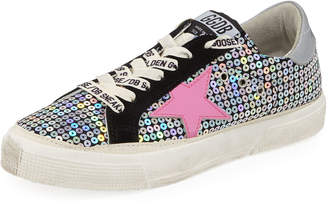 Golden Goose May Sequin Embellished Platform Low-Top Sneakers