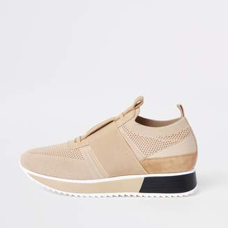 73991c7ca5d River Island Womens Beige knitted elastic runner shoes